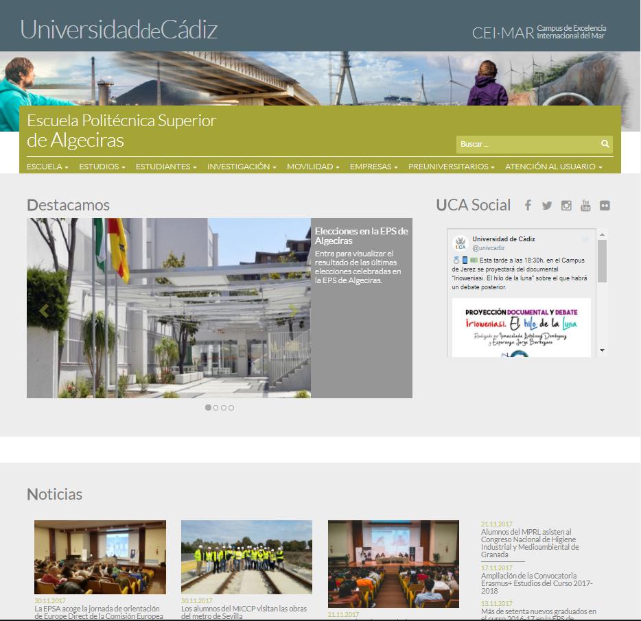 Imagen de la nueva Web de la EPS de Algeciras